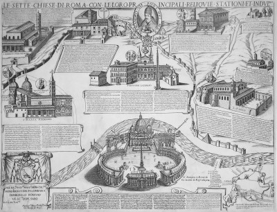 A 1599 map illustrating Rome's 7 Pilgrim Churches [source: Wikipedia]